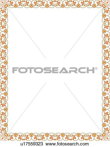 Clipart of Orange Delicate Floral Border u17559323.
