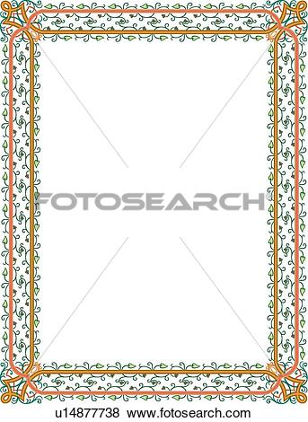 Clip Art of Orange and Green Delicate Border u14877738.