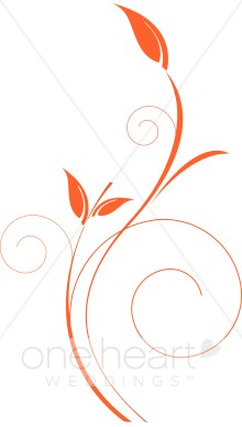 Delicate Vertical Orange Vine Clipart.