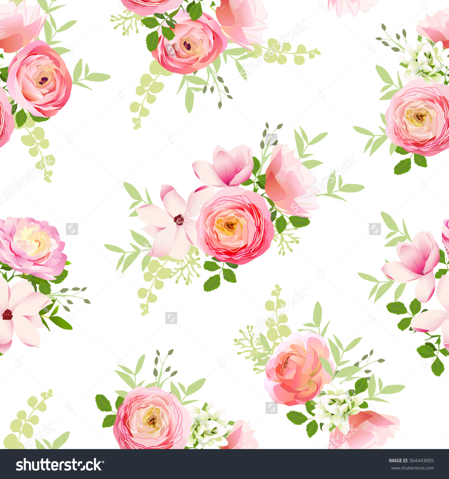 Delicate Bunch Spring Fresh Flowers Rose Stock Vector 364443005.