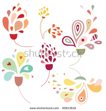 Set Of Delicate Flowers With Stylized Petals And Soft Colors.