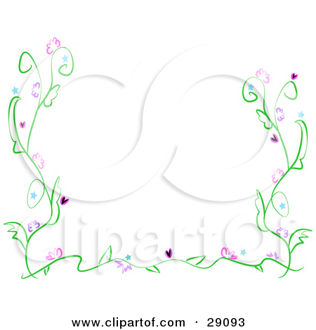 Clipart Illustration of a Delicate Green Vine With Pink Flowers.