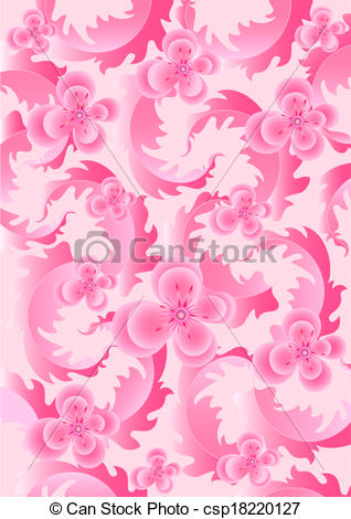Clip Art of Delicate pink flowers on light pink.