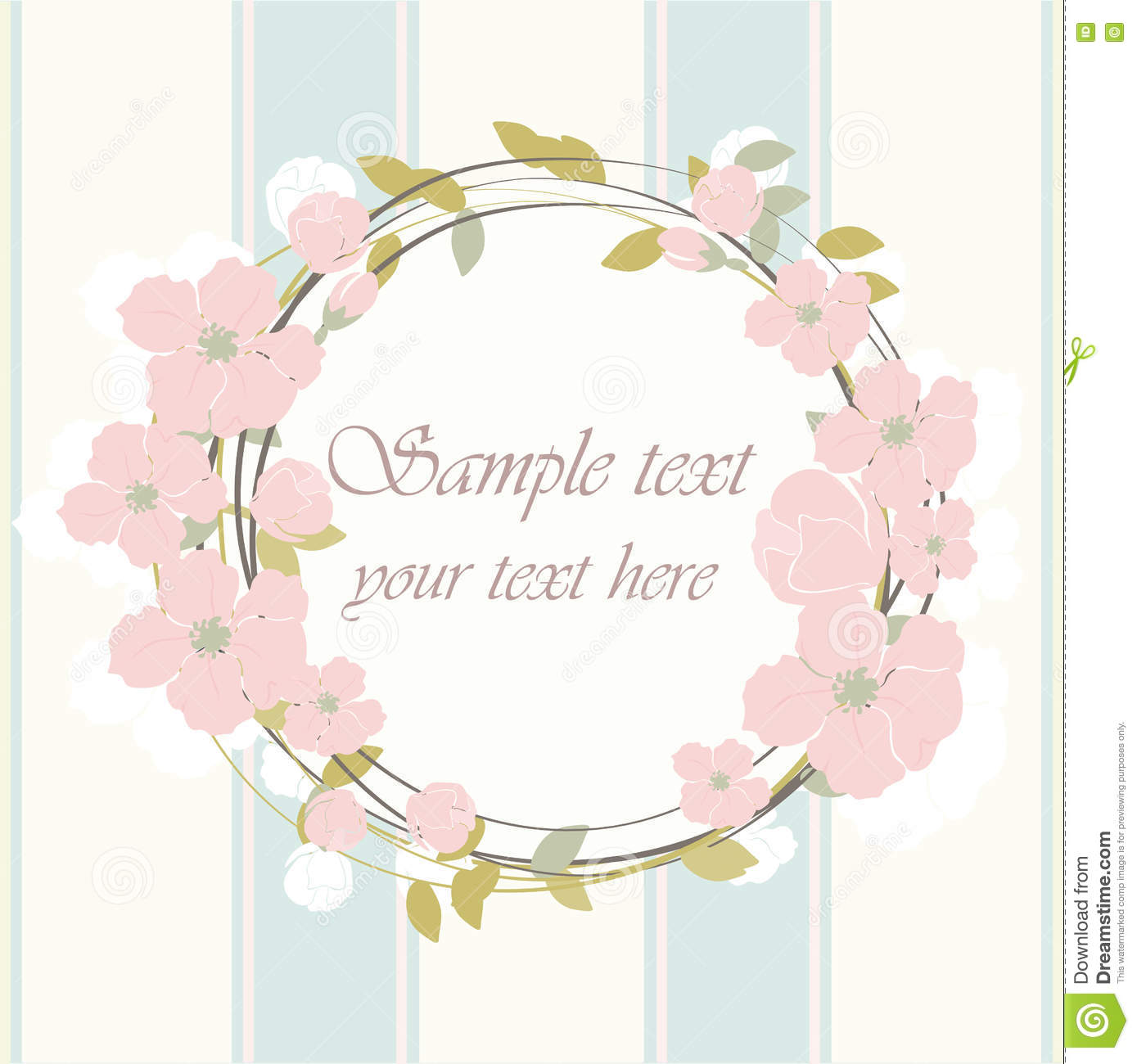 Round Frame With Delicate Pink Flowers Stock Vector.
