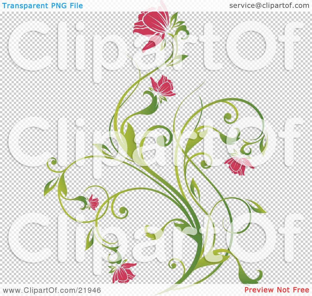 Clipart Picture Illustration of a Delicate Green Plant With Pink.
