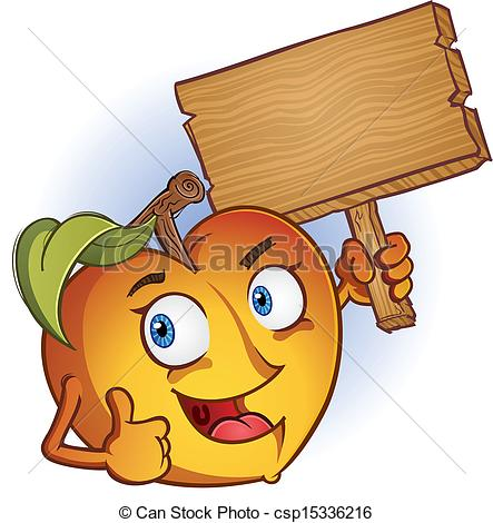 Vector Clip Art of Peach Cartoon Character With Sign.