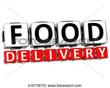 Drawing of 3D Food Delivery Button Click Here Block Text k12118173.