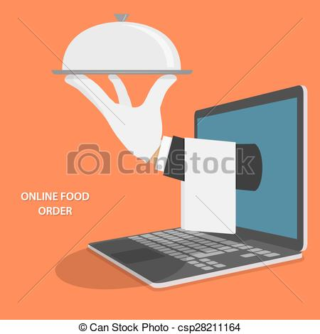 Clip Art Vector of Online Food Delivery Concept Illustration.
