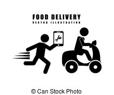 Vector Clipart of laptop delivery food app vector illustration eps.