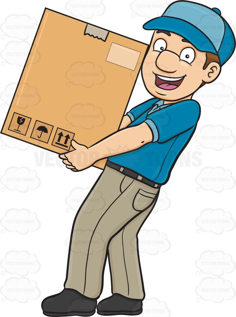 A delivery man delivering a large box.