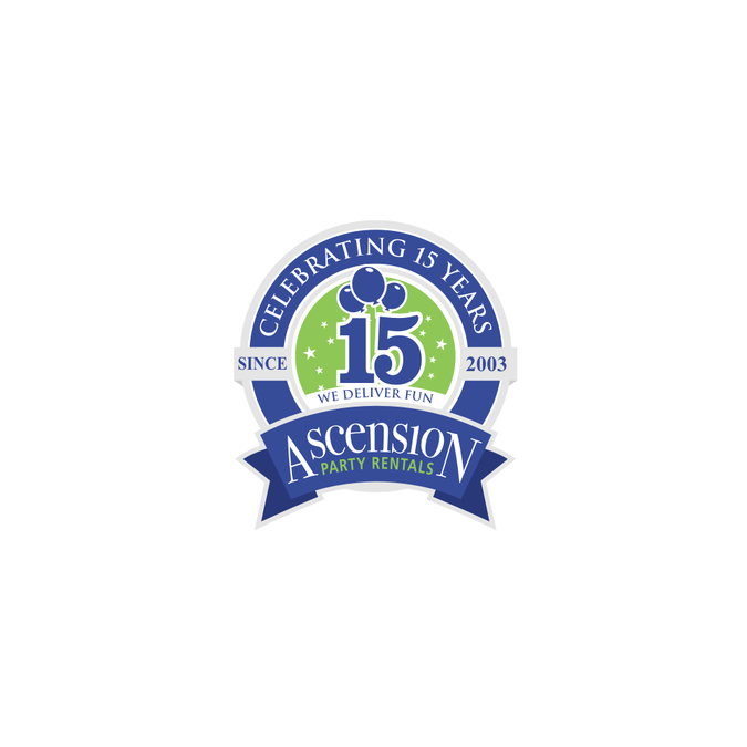 15 years of delivering fun! Anniversary logo.