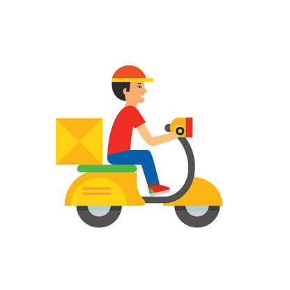Delivery Boy Riding Motor Bike Icon Clipart Image.