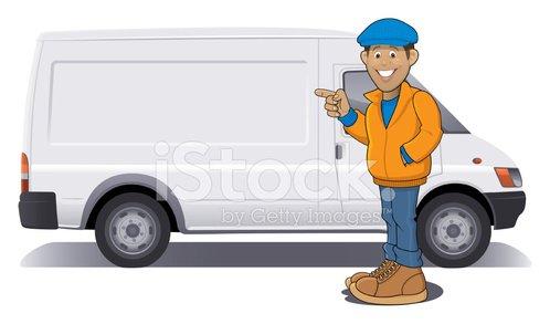 Delivery Van Driver premium clipart.