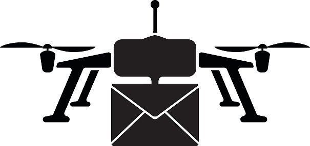 Drone Delivery Simple Icon Clipart Image.