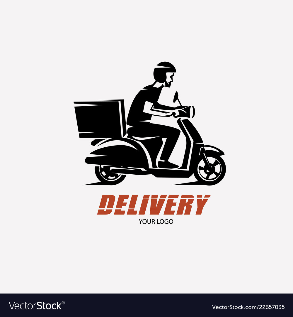 Scooter delivery silhouette logo template.