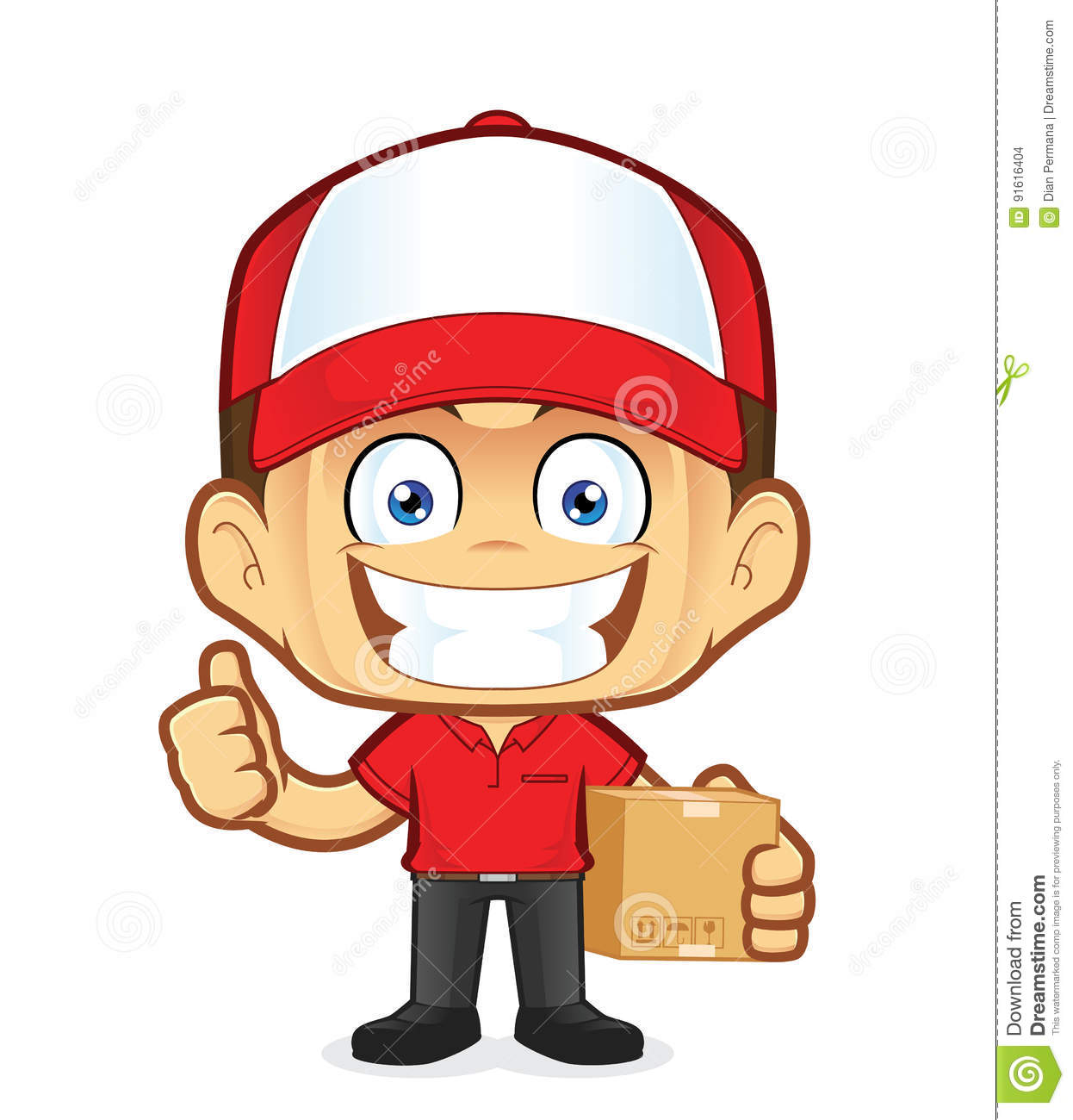Delivery Man Courier Holding A Box And Giving Thumbs Up Stock Vector.