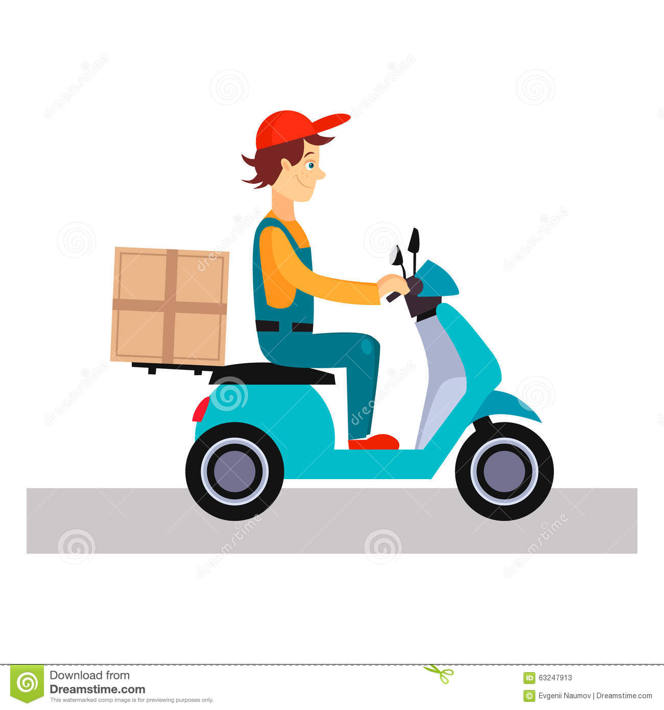 Delivery Man On A Bike, Vector Illustration Stock Vector.