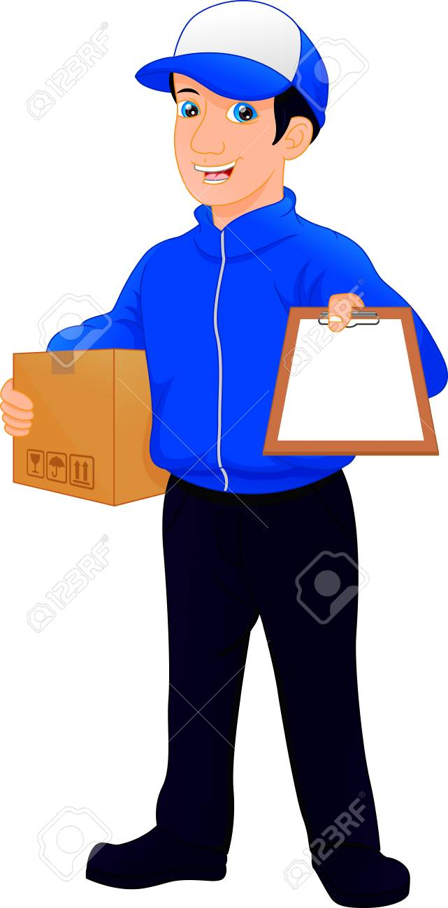 Delivery man holding package and clipboard.