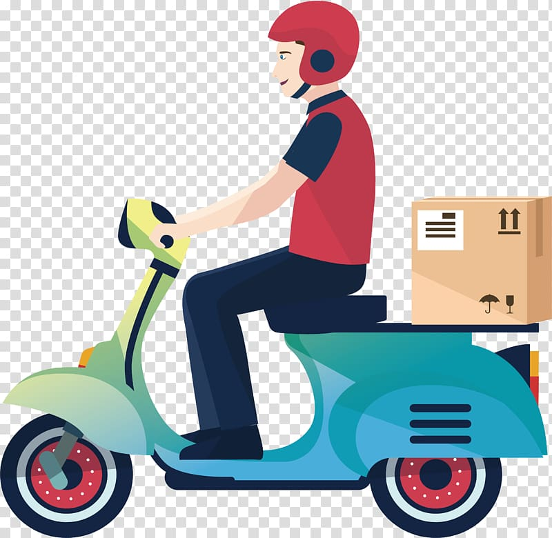 Man riding motor scooter with box , Delivery Motorcycle.