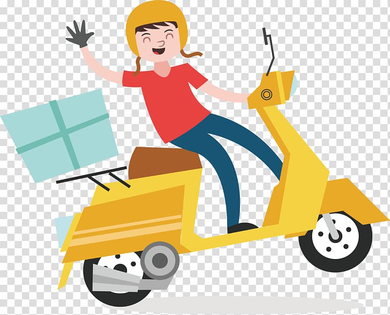 Man riding scooter graphic, Delivery Euclidean Courier.