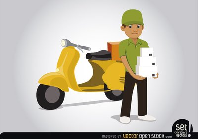 Delivery man with motorcycle Clipart Picture Free Download.