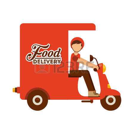 Food delivery man clipart.