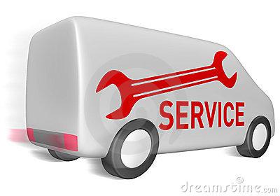 Delivery Van Service Stock Photo.