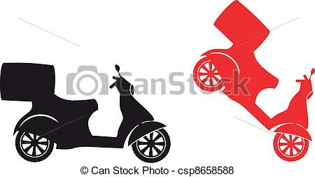 Vector Clipart of Scooter silhouette.