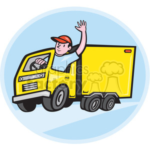 delivery truck driver waving shape clipart. Royalty.