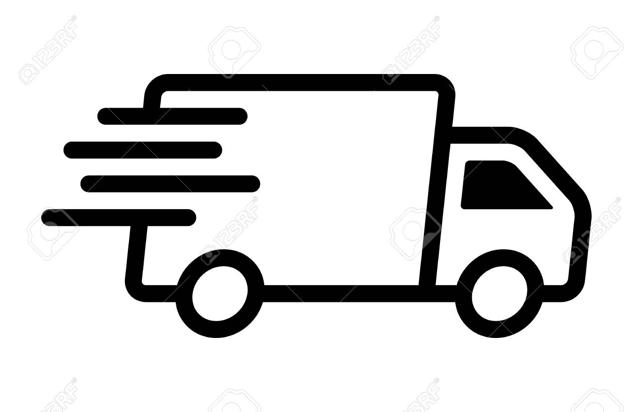 Fast moving shipping delivery truck line art vector icon for...