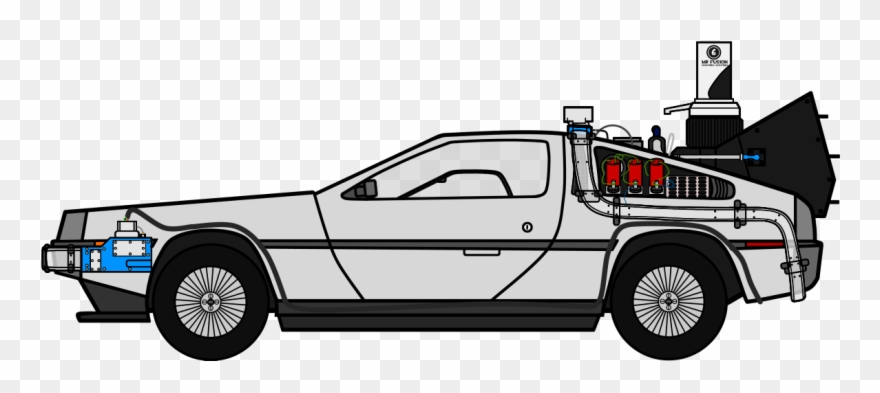 Freeuse Library Delorean Time Machine Clipart.