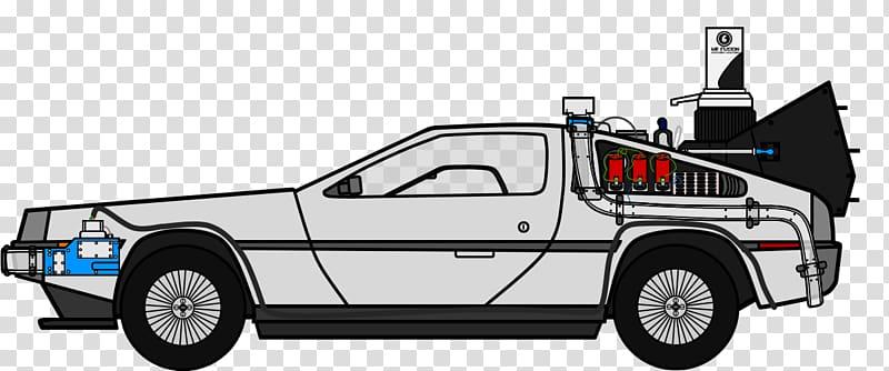 Gray coupe artwork, DeLorean DMC.