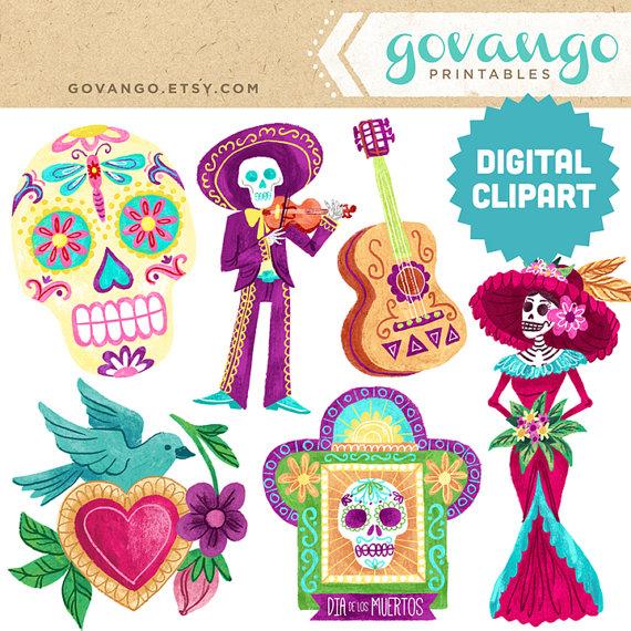 DIA de los MUERTOS Digital Clipart Instant Download Illustration.