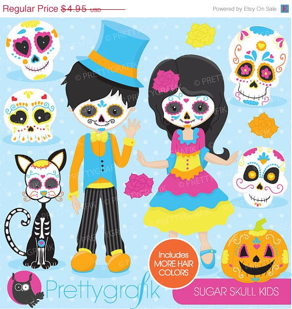 Day of the dead clipart for kids.