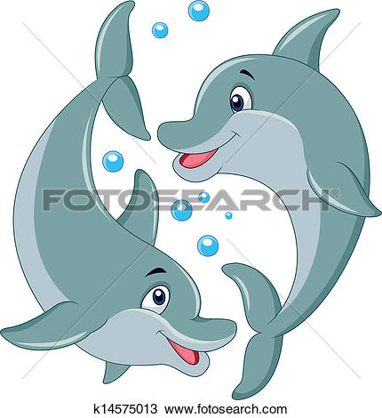 Clip Art of Dolphins couple k6074129.