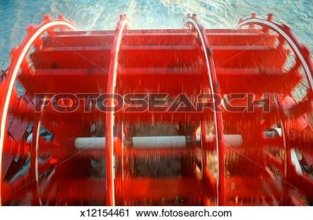 Stock Photography of Detail of paddle of The Delta Queen steamboat.