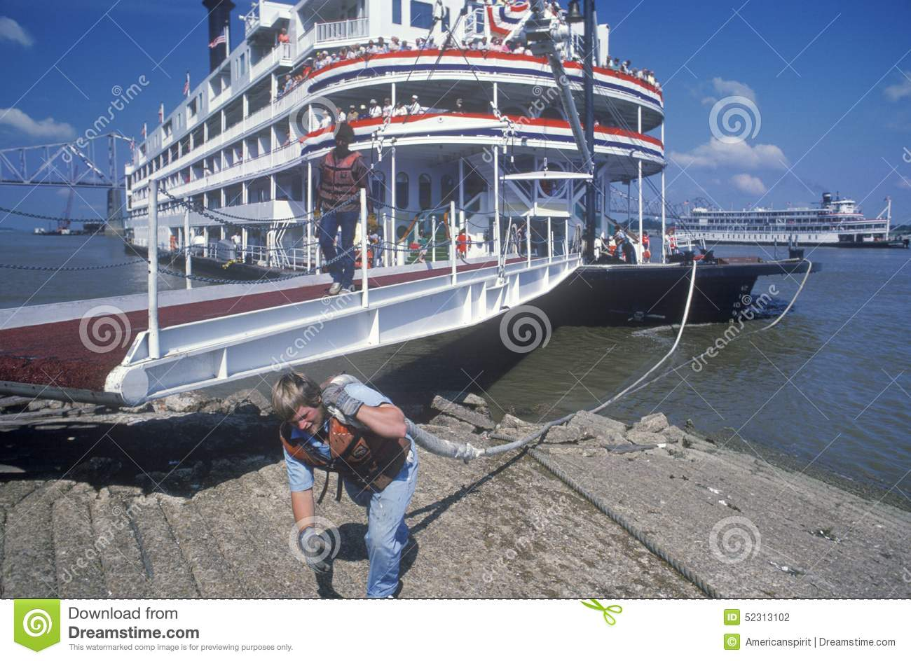 A Crew Member Working On The Delta Queen River Boat, A Relic Of.
