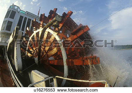 Stock Photo of A steamboat paddle wheel on the Delta Queen.