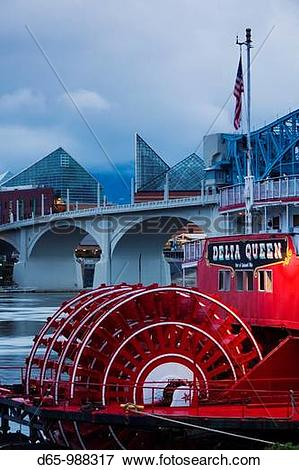 Picture of USA, Tennessee, Chattanooga, Delta Queen riverboat and.