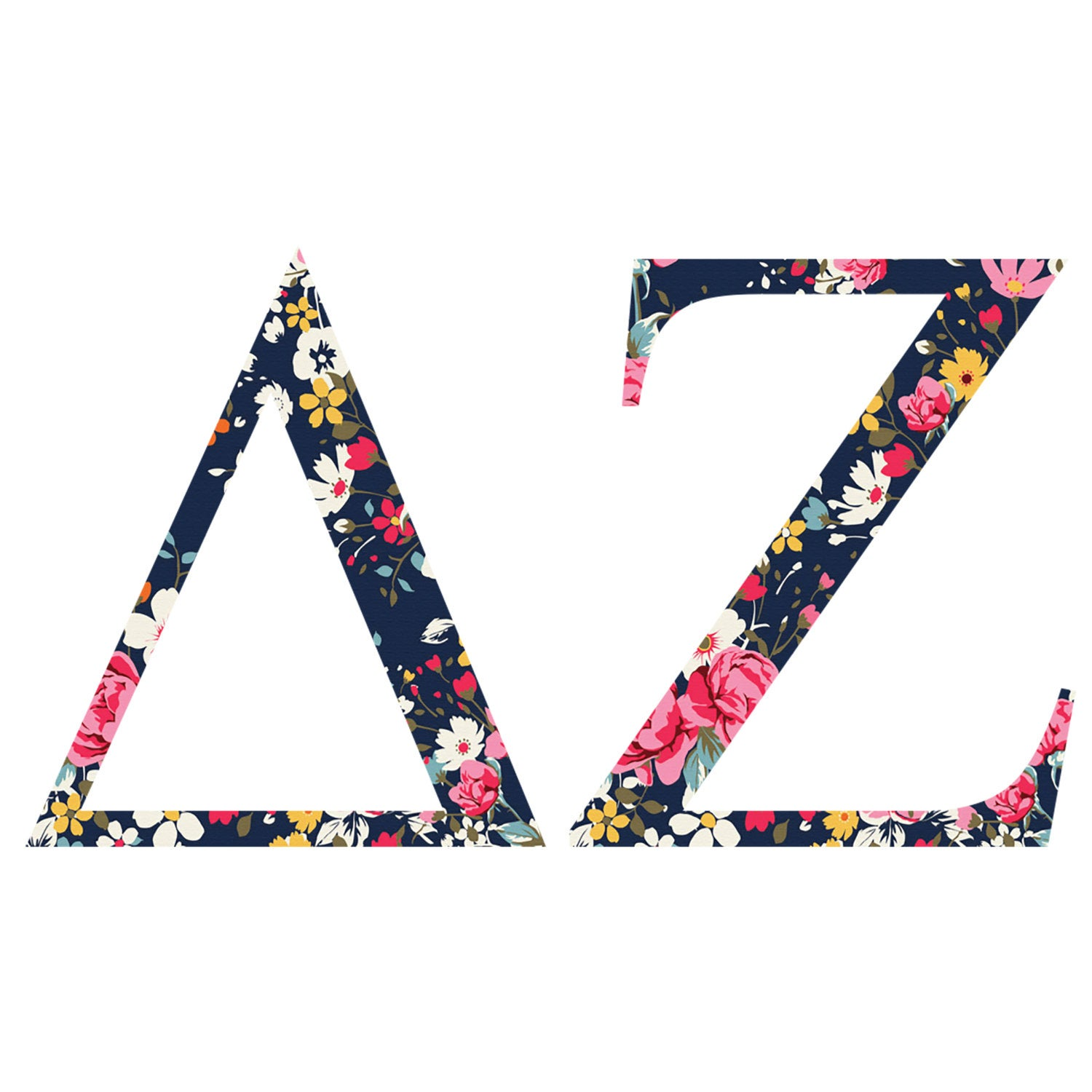 Delta Zeta Standard Greek Font Floral Print Letter Sticker Outside  Car/Computer dz.