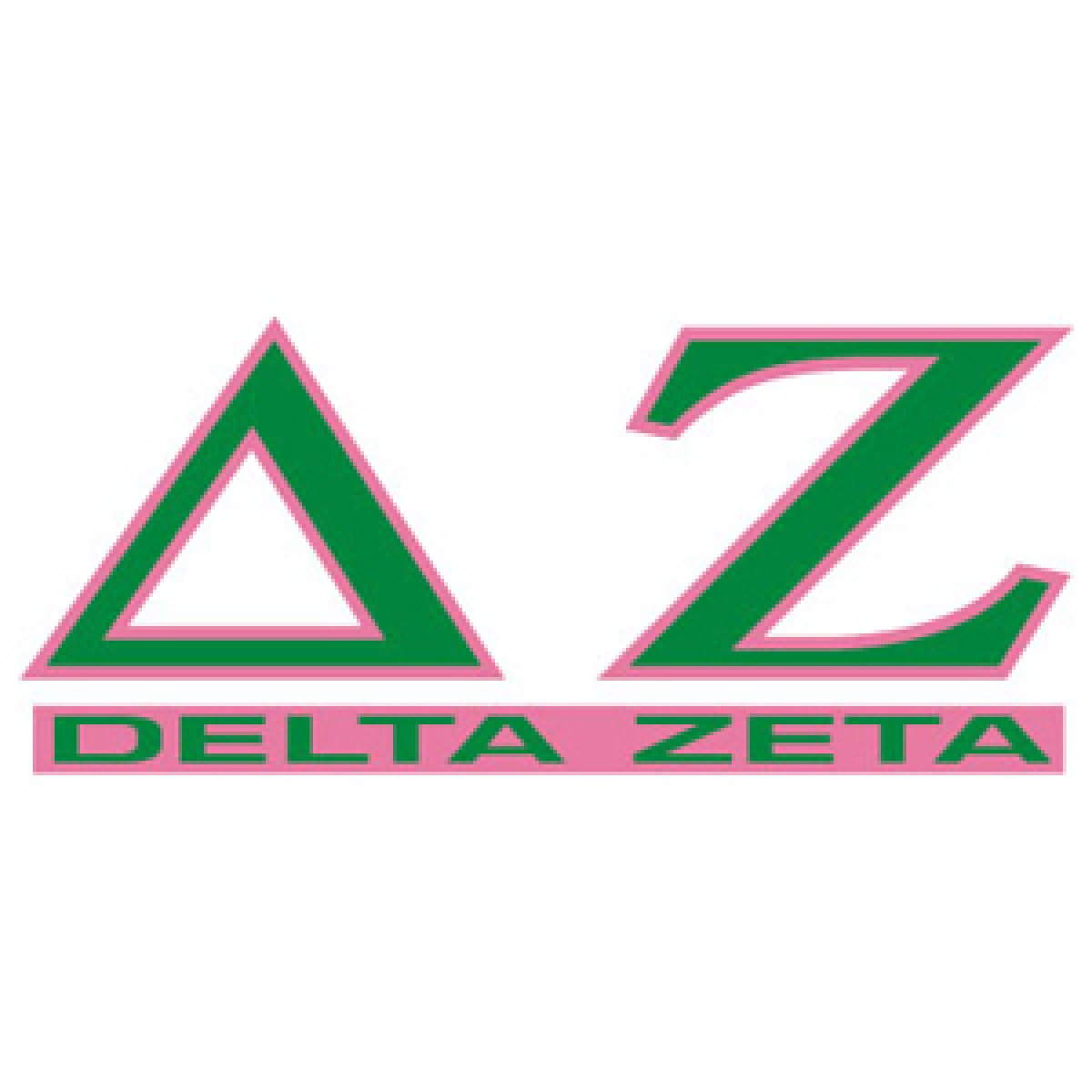 Delta Zeta Letters Over Name Decal.