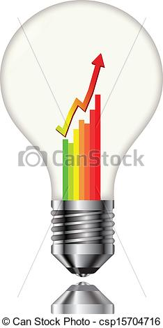 Vector Clip Art of Bulb with a chart of electricity consumption.
