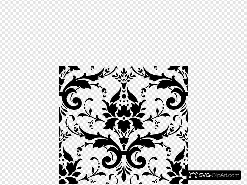 Black Damask Clip art, Icon and SVG.