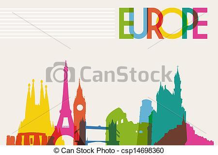 Clip Art Vektor von Europa, Skyline, silhouette, denkmal.