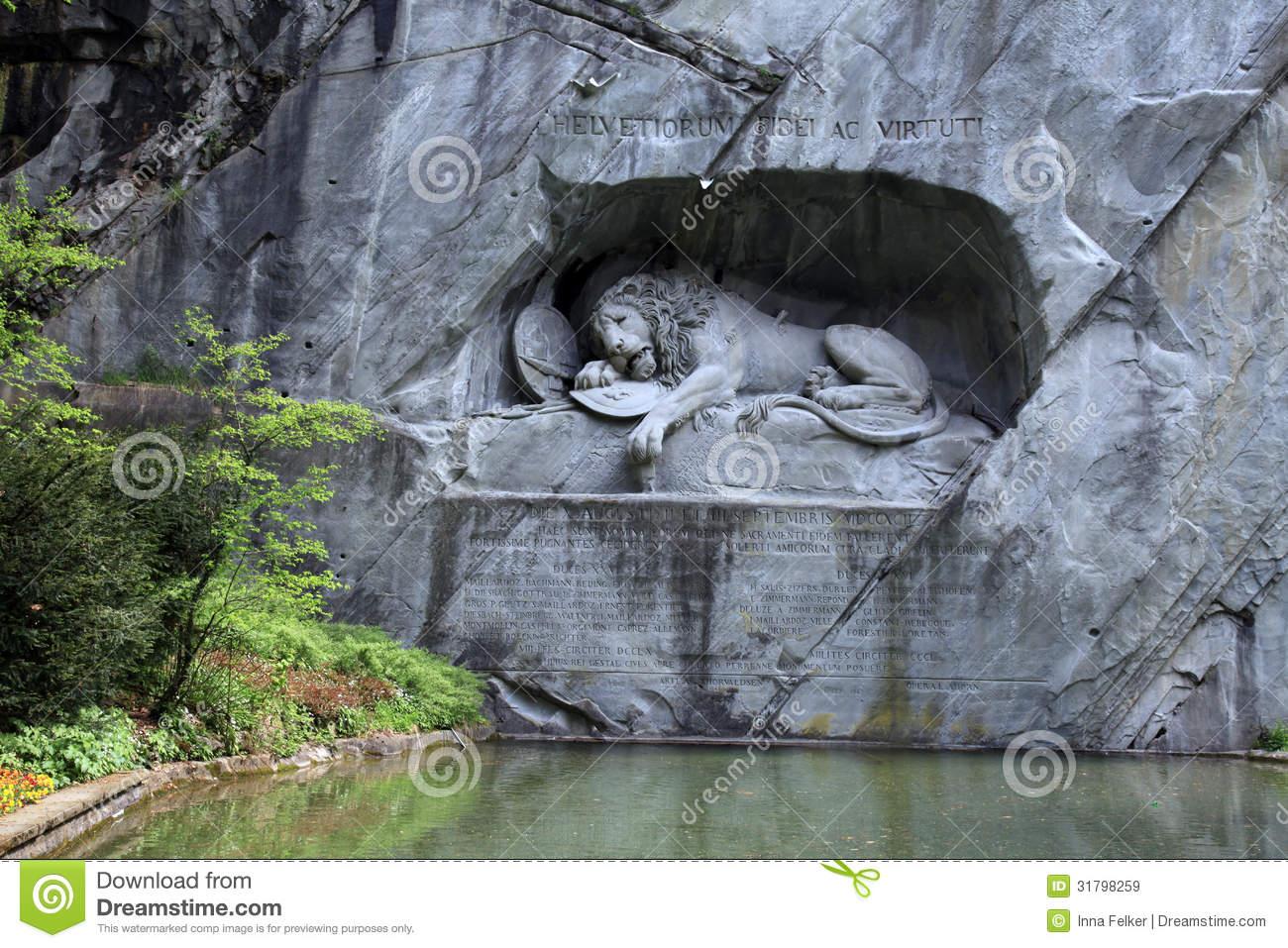 Lion Monument (Löwendenkmal) In Park (Lucerne, Switzerland.
