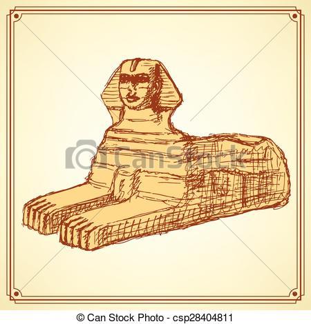 Vektor Clip Art von Weinlese, Skizze, Sphinx, Stil, denkmal.