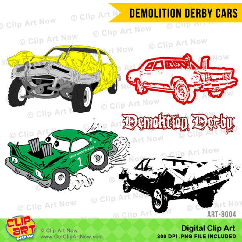 Demolition Derby Cars Digital Clip Art.