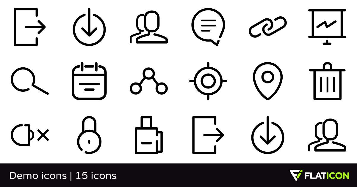 Demo icons 15 free icons (SVG, EPS, PSD, PNG files).