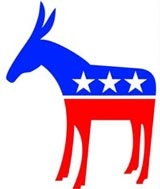 The Democratic Donkey and the Republican Elephant.