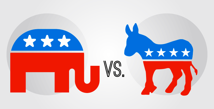 US Democratic and Republican Logo Designs.